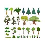 Een reeks verschillend soort van bomen en struiken in een vlakke stijl stock illustratie