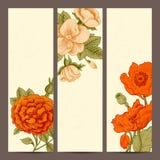 Een reeks verticale banners met uitstekende bloemen. Stock Foto's