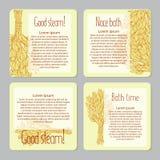 Een reeks vierkante etiketten voor het merken van het baden van goederen Reclame van producten voor een sauna, de badende dienste Stock Afbeelding