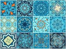 Een reeks vierkante patronen in etnische stijl royalty-vrije illustratie
