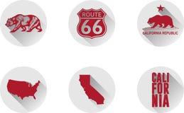 Een Reeks Vlakke Pictogrammen van Californië stock foto