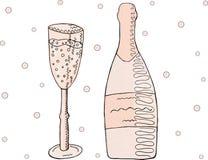 Een reeks voorwerpen Roze champagne met een glas en bellen vector illustratie