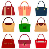 Een reeks vrouwen` s handtassen, een vrouwen` s zak Royalty-vrije Stock Foto's