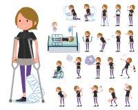 Een reeks vrouwen in sportkleding met verwonding vector illustratie