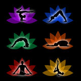 Een reeks yoga en meditatiesymbolen Royalty-vrije Stock Fotografie