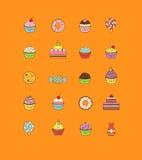 Een reeks yummy vlak geschetste pictogram vectorillustraties van diverse soorten snoepjes en desserts Het omvat donuts stock illustratie