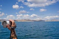 Een reis door het overzees, een blauwe hemel met mooie wolken Royalty-vrije Stock Afbeeldingen