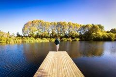 Een reiziger met een rugzak die zich over de rand van een houten promenade bevinden stock fotografie