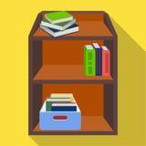 Een rek met boeken en documenten Kantoormeubilair enig pictogram in vlakke de voorraadillustratie van het stijl Isometrische vect Stock Afbeeldingen