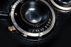 Een retro close-up van de cameralens Stock Afbeelding