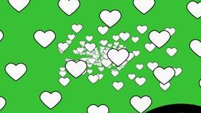 Een retro uitstekende atmosfeer die met harten onder een groene achtergrond bloeien - animatie royalty-vrije illustratie