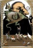 Een reus met een groene draak Stock Afbeelding