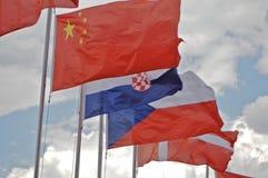Een rij de vlaggen die blowed in de wind zijn Stock Afbeelding