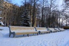 Een rij van banken in een de wintervierkant royalty-vrije stock foto's