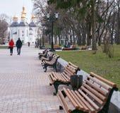 Een rij van bruine houten banken komt aan het centrum samen die in de richting van een mooi park wijzen stock afbeelding