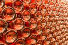 Een rij van champagneflessen - Wijnkelder Royalty-vrije Stock Foto