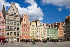 Een rij van huis op het vierkant van de Markt in Wroclaw Stock Fotografie