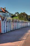 Een rij van strandhutten Royalty-vrije Stock Foto's