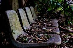 Een rij van verlaten bushaltestoelen stock fotografie