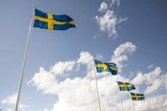 Een rij van vier Zweedse vlaggen Stock Foto