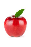 Een rijpe Rode Appel met Blad Royalty-vrije Stock Afbeelding