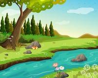 Een rivier bij het bos Stock Afbeeldingen
