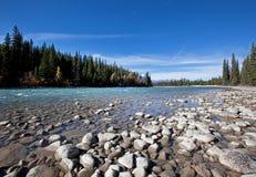 Een rivier met kiezelstenen op een zonnige dag Royalty-vrije Stock Afbeeldingen