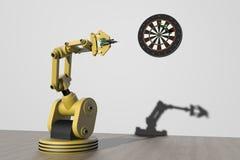 Een robot die een uitstekend spel van pijltjes spelen Royalty-vrije Stock Afbeelding