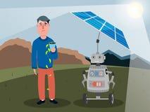 Een robot met kunstmatige intelligentie laadt de zonnepanelen die de zon van een persoon blokkeren Vector illustratie stock illustratie