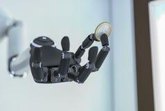 Een robotachtige hand met een euro muntstuk Royalty-vrije Stock Afbeeldingen