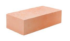 Een rode die baksteen op witte achtergrond wordt geïsoleerd Royalty-vrije Stock Foto's