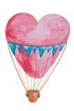 Een rode die luchtballon in de vorm van een hart voor reis met een mand in waterverf wordt getrokken Royalty-vrije Stock Afbeelding