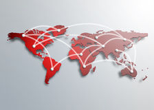 Een rode kaart van de wereld Royalty-vrije Stock Afbeelding