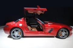 Een rode sportwagen Stock Foto