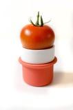 Een rode tomaat op een kleine mok Royalty-vrije Stock Afbeeldingen