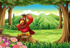 Een rode vogel boven de stomp bij de wildernis vector illustratie