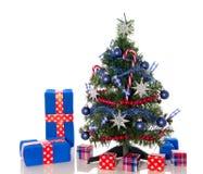 Een rode witte blauwe Kerstmisboom Stock Foto