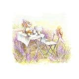 Een romantisch beeld in de stijl van de Provence De illustratie van de waterverf Royalty-vrije Stock Foto's