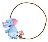 Een rond leeg malplaatje met een olifant en een muis royalty-vrije illustratie