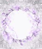 Een rond waterverfkader, een prentbriefkaar, een kroon van bloemen, takjes, installaties, bessen Uitstekende illustratie Gebruik  stock illustratie