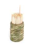 Een ronde bamboedoos van tandenstokers Stock Foto's