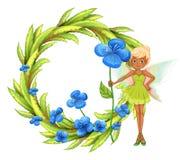 Een ronde bladgrens met een fee die een blauwe bloem houden Stock Afbeeldingen