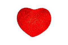 Een rood die hart op witte achtergrond wordt geïsoleerd Stock Afbeelding