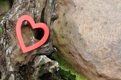 Een rood hart tegen een boomboomstam Stock Foto's