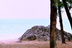 Een rots door overzees en bomen Stock Foto