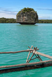 Een rots in turkoois water Stock Afbeelding