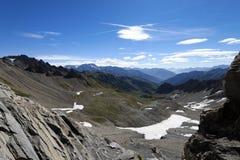 Een rotsachtige bergpas op de manier aan Mont Blanc Noordelijk Italië Royalty-vrije Stock Afbeelding