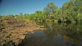 Een rotsachtige die waterhole door bomen en struiken wordt omringd stock video