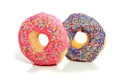 Een roze en purpere verglaasde doughnut Stock Fotografie