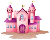 Een roze gekleurd kasteel Royalty-vrije Stock Afbeeldingen
